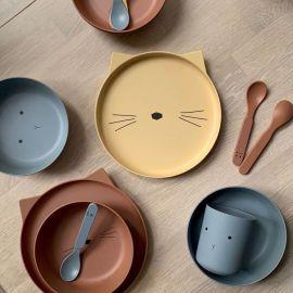 Bamboo tableware set Rabbit sea blue