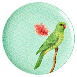 Melamine Plate - Vintage bird - green - 25 cm